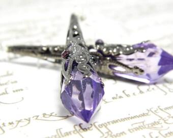 Art Deco gunmetal purple earrings, gunmetal filigree, Downton, Art Deco jewelry, purple crystal, Edwardian jewellery, Art Deco earrings