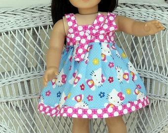 Hello Summer Kitty Sundress Handmade To Fit 18 Inch Dolls Like American Girl