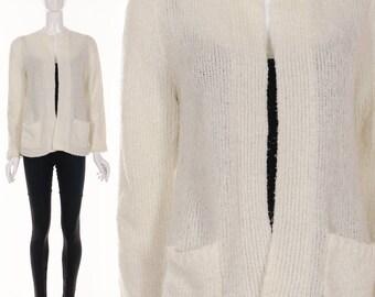 70's Cream White Nubby Knit Sweater Cardigan White Cardigan Sweater Jumper Small Medium
