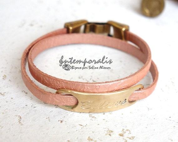 Bronze and pink paisley leather bracelet, Believe, OOAK, SABR37