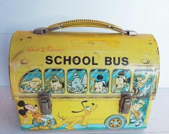 Vintage Aladdin School Bus Lunchbox, Walt Disney Productions Dome Top  Lunch Box
