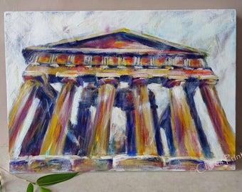 Greek Temple Original Acrylic Painting on Canvas OOAK Art
