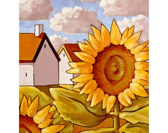 """Art Print by Cathy Horvath 8""""x11"""" Modern Floral Folk Art Giclee, Summer Yellow Sunflower Cottages, Flower Landscape, Artwork Reproduction"""