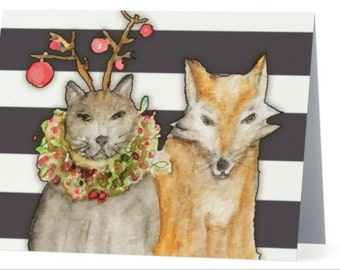 Boxed Note Cards - Cat and Fox - Stripes - Holiday Christmas