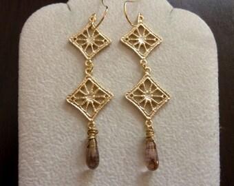 40% OFF SALE! - Rhombus Shape Earrings. Modern Jewelry. Gift. Long Earrings. Geometric. Chandelier Earrings. Dangle Earrings. Drop Earrings