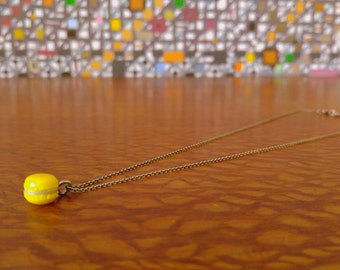 Made to Order Sterling Silver Cable Clay French Macaron Necklace- Lemon Yellow