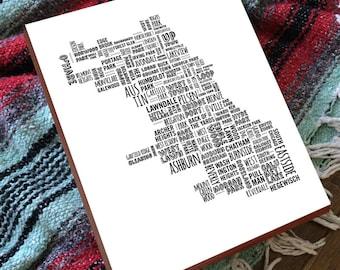 Chicago Neighborhood Map - Chicago Neighborhoods - Wood Block Art Print