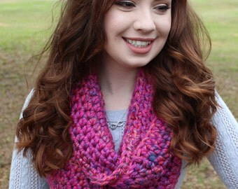 Chunky Crocheted Carnival Pink Infinity Scarf
