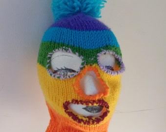 Rainbow Balaclava Knit Vegan Hat Hood Planned Parenthood Fundraiser Donation