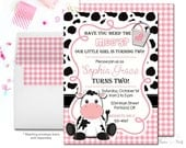 Girls COW Birthday Invitation, Cow Party Invitation, Cow Party Invite, Cow Invitation, Girls Birthday, Girls Party Invite, Western Party