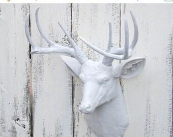 SPRING SALE White Deer Head // Deer Decor // Choice Color // Deer Hunter // Deer Head Wall Sculpture // Faux Animal Head // Faux Taxidermy