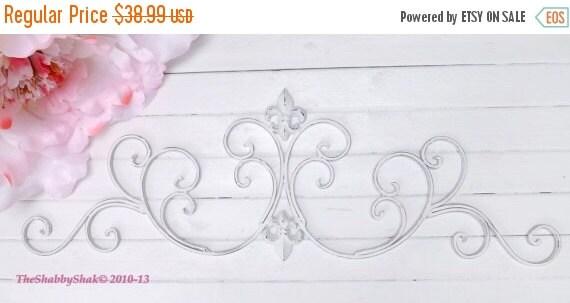White Wall Decor / Wrought Iron /Fleur De Lis By Theshabbyshak