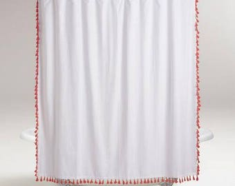 Extra long Tassel Shower Curtain - color options