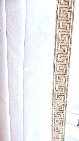 Gold And White Greek Key Trim Curtain Different Colors