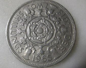 1965 United Kingdom, Two Shillings Coin - Elizabeth II 1st portrait