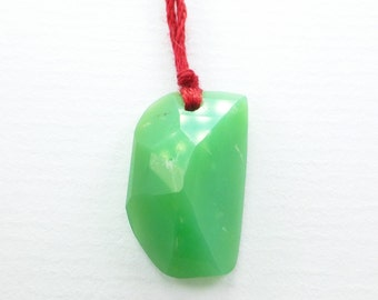 Chrysoprase Bead. Natural Chrysoprase Pendant Tavernier Cut. Geometric. DRILLED. 1 pc. 12x21x8 mm  (CH446)