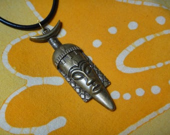 African Mask Antique Bronze Pendant Necklace Tribal Mens Afrocentric Jewelry