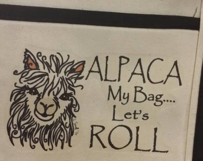 Heavy canvas project/shopping bag with Whimsical Alpaca