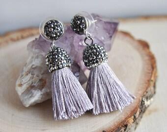 Tassel Earrings, Festival Earrings, Bohemian Style, Crystal Earrings, Everyday Earrings, Boho Earrings, Lilac Tassel Earrings, Pave Crystal