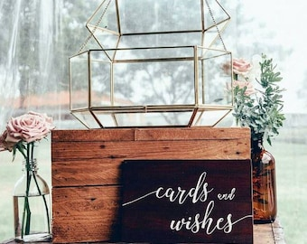 Cards and Wishes or Sign our Guestbook Handpainted Rustic Wedding Sign