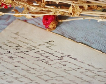 LOVE ~ Antique circa 1861 Handwritten Calligraphy Page