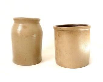 Antique Stoneware Crocks ... Tan Salt Glazed Ceramic Vessels, Rustic Earthenware Storage Containers, Vintage Pottery, Farmhouse Modern