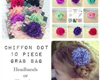 Grab Bag Set of 10 Polka Dot Chiffon Shabby Chic Flower Headbands: Sale 50% OFF +  Starter Set + Baby Shower Gift + Birthday Present