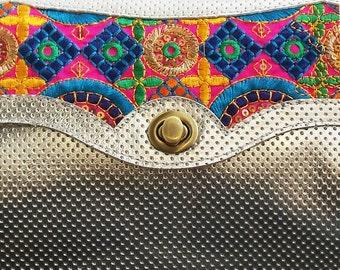 Silver boho handbag, Leather embroidered purse, Colorful evening bag, Women's cross body purse