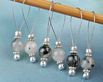 Stitch Markers, Knitting, Tourmalinated Quartz, Semi-Precious Stones, White Black, Silver, Snag Free, Jeweled Tool, Knitting Accessory, Gift