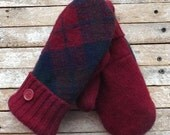 Felted Wool Sweater Mittens Medium Womans Dark Red Blue Green Plaid Recycled Wool Fleece Lined Hand Made Warm Cozy Winter Outerwear