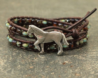 Silver Topaz Turquoise Horse Bracelet Bohemian Beaded Leather Horse Jewelry Unique Equestrian Jewelry