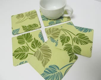 Set Of 6 Fabric Coasters/Monstera