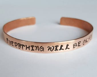 Copper Personalized Bangle, Custom braclet, Inspirational Bracelet, Hand Stamped, Personal Message, Birthday Gift, Children's Jewelry