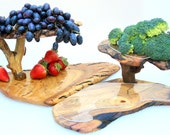 Wooden Fruit Tree Tray, Rustic Party Platter, Thanksgiving Centerpiece, Natural Wood Serving Dish Plate, Bark Bowl, Carved Farmhouse Dinner