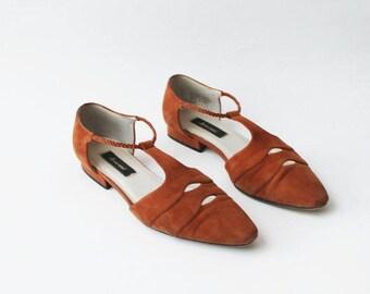 1980's Cognac Rust Tan Cut Out T Strap Flats