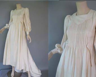 70s Biba Style - Ivory Shantung Silk Wedding Dress - 1970s Renaissance Look -Ossie Clark Style -Vogue Original Bridal Gown