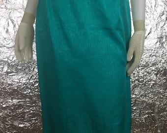 CLEARANCE  Vintage Teal Silk 90's Pencil Skirt  M