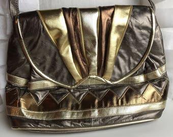 Vintage Disco 70's Metallic Patchwork Shoulder Bag