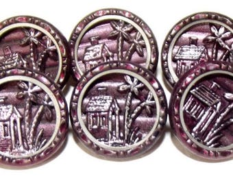 Stellar Perfect Antique Metal Picture Buttons Original Bright Red Tint House & Trees