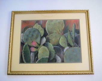 Vintage original artwork/ pastel cactus/large framed wall decor/ green and red/gold wood frame