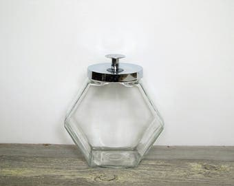 Vintage glass canister/ cookie jar/ glass & chrome container/vintage storage
