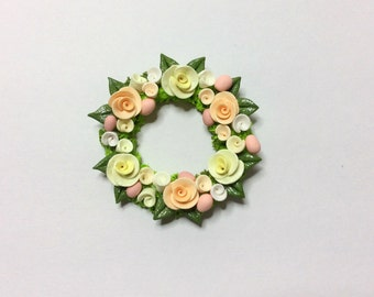 Miniature Easter wreath with yellow and peach roses for 1:12 scale dollhouse handmade from polymer clay