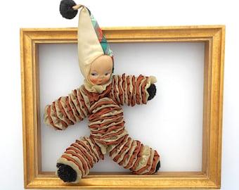 Vintage Clown Rag Doll Handmade YoYo Celluloid Head 1970s Nursery Decor