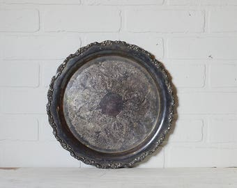 Round Silver Tray, Silver Tray, Silver Plate Tray, Oneida Silverplate, Vintage Silver, Vintage Silverplate, Hotel Silver, Round Silver