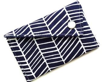 Business Card Case - Navy White Herringbone Business Card Holder Men's Wallet Gift For Him