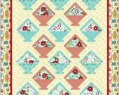 Floral  Baskets Quilt Pattern, 4979-1, pieced lap Quilt, floral lap quilt pattern, basket quilt pattern