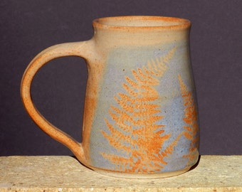 Big Blue Fern Mug, for Coffee orTea,Handmade,Wheel Thrown Stoneware,Microwave Safe,Country Cottage,Cabin Pottery Decor, Gift for Her, or Mom