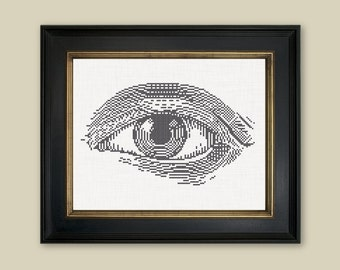 DIY Engraved eye/ embroidery Cross Stitch .pdf / Instant Download