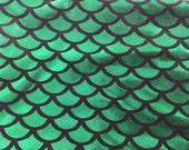 Green mermaid fish scale spandex fabric