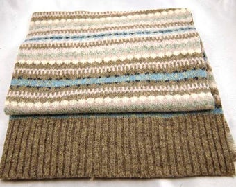 100% GENUINE LAMBSWOOL SWEATER Felted Fairisle Blue Gray  on White Pieces Scrap 1755